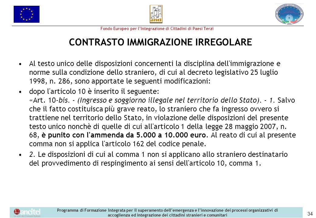 Fondo Europeo per lIntegrazione di Cittadini di Paesi Terzi Programma di Formazione Integrata per il superamento dellemergenza e linnovazione dei processi organizzativi di accoglienza ed integrazione dei cittadini stranieri e comunitari 34 CONTRASTO IMMIGRAZIONE IRREGOLARE Al testo unico delle disposizioni concernenti la disciplina dell immigrazione e norme sulla condizione dello straniero, di cui al decreto legislativo 25 luglio 1998, n.