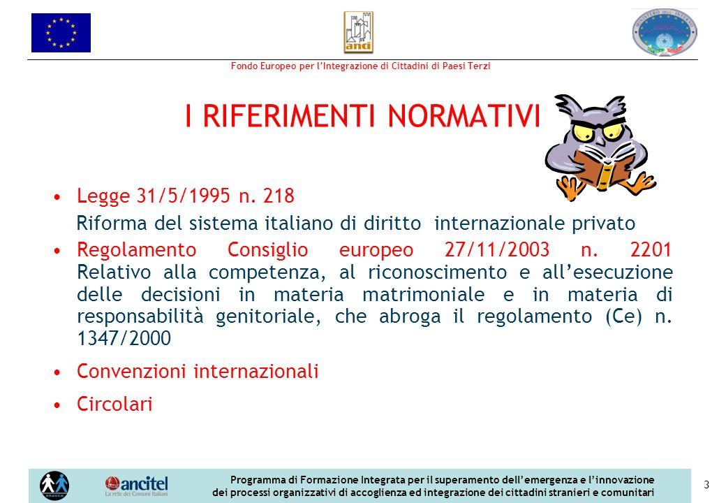 Fondo Europeo per lIntegrazione di Cittadini di Paesi Terzi Programma di Formazione Integrata per il superamento dellemergenza e linnovazione dei processi organizzativi di accoglienza ed integrazione dei cittadini stranieri e comunitari 3 I RIFERIMENTI NORMATIVI Legge 31/5/1995 n.