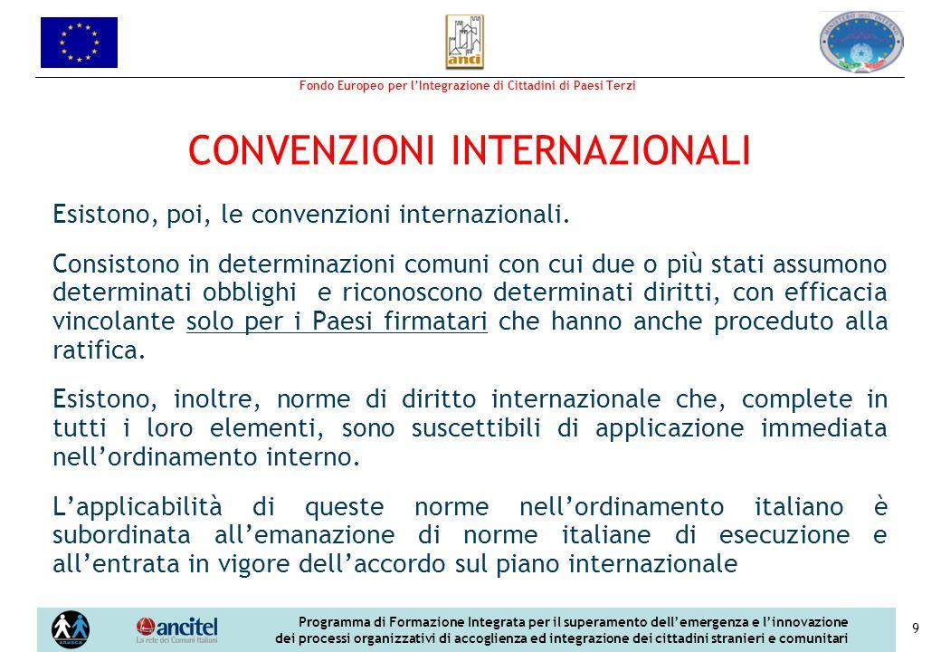 Fondo Europeo per lIntegrazione di Cittadini di Paesi Terzi Programma di Formazione Integrata per il superamento dellemergenza e linnovazione dei processi organizzativi di accoglienza ed integrazione dei cittadini stranieri e comunitari 9 CONVENZIONI INTERNAZIONALI Esistono, poi, le convenzioni internazionali.