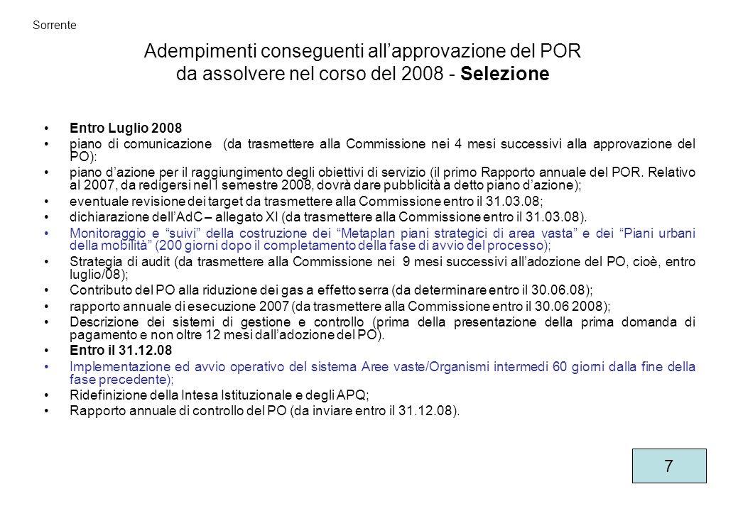Adempimenti conseguenti allapprovazione del POR da assolvere nel corso del 2008 - Selezione Entro Luglio 2008 piano di comunicazione (da trasmettere alla Commissione nei 4 mesi successivi alla approvazione del PO): piano dazione per il raggiungimento degli obiettivi di servizio (il primo Rapporto annuale del POR.