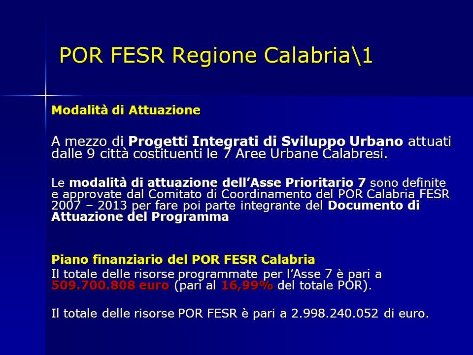 POR FESR Regione Calabria\1 Modalità di Attuazione A mezzo di Progetti Integrati di Sviluppo Urbano attuati dalle 9 città costituenti le 7 Aree Urbane Calabresi.