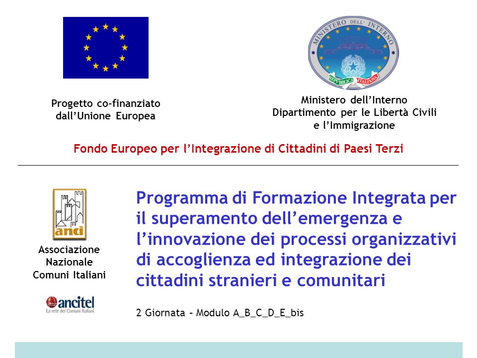 Progetto co-finanziato dallUnione Europea Ministero dellInterno Dipartimento per le Libertà Civili e lImmigrazione Fondo Europeo per lIntegrazione di