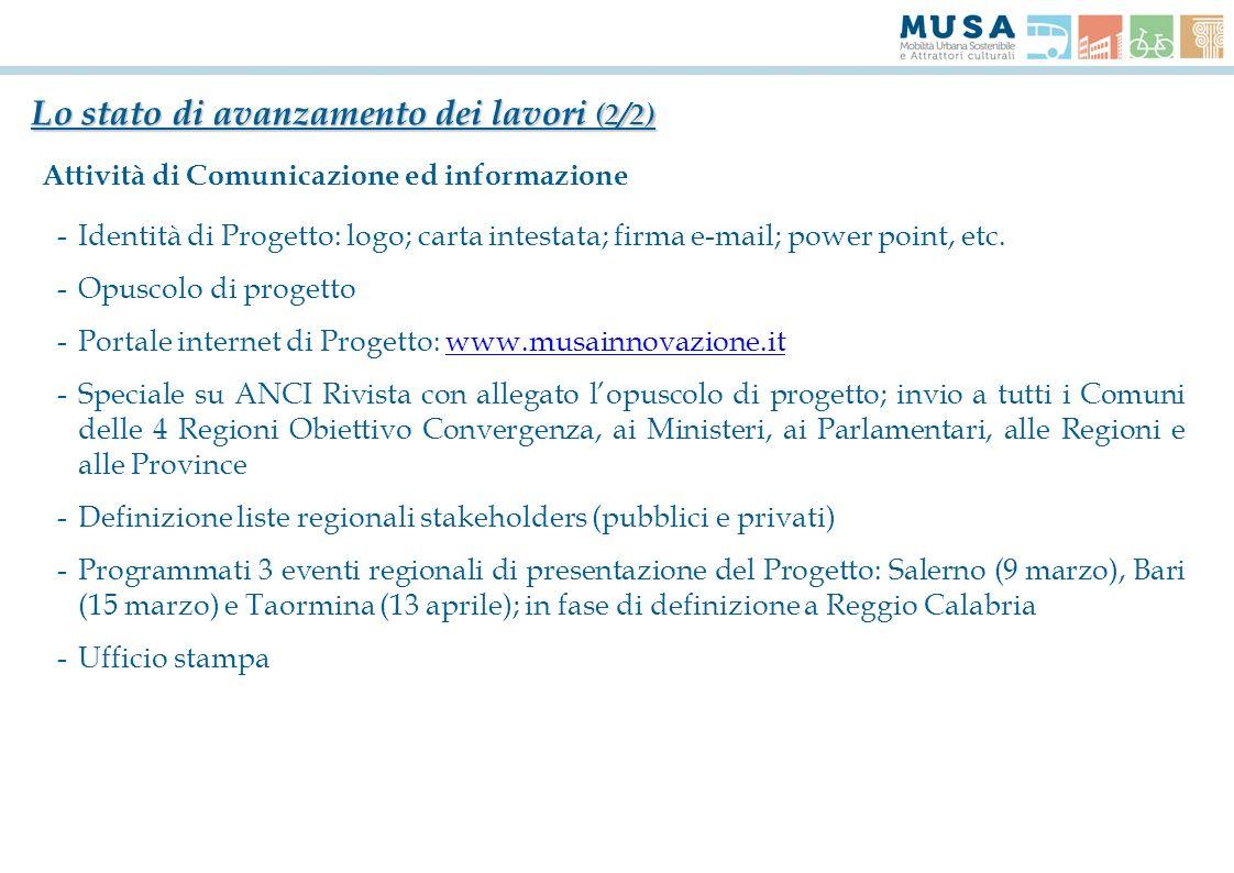 Lo stato di avanzamento dei lavori (2/2) Attività di Comunicazione ed informazione -Identità di Progetto: logo; carta intestata; firma e-mail; power p