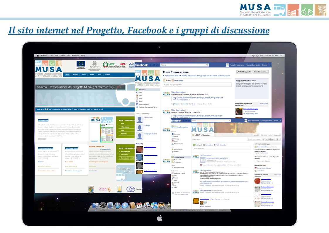 Il sito internet nel Progetto, Facebook e i gruppi di discussione