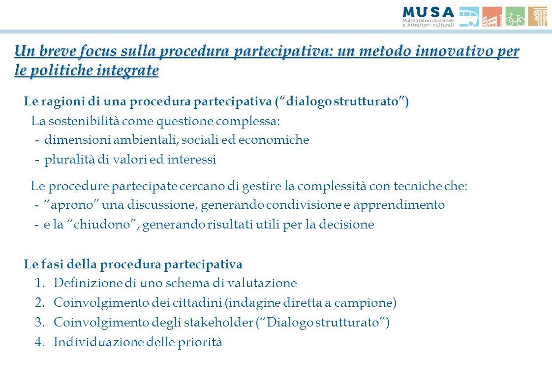 Le ragioni di una procedura partecipativa (dialogo strutturato) La sostenibilità come questione complessa: -dimensioni ambientali, sociali ed economic