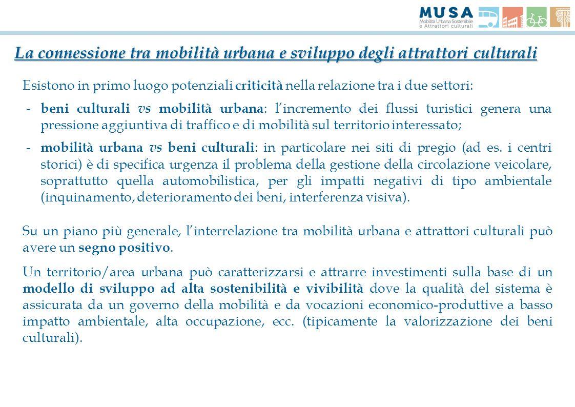 Esistono in primo luogo potenziali criticità nella relazione tra i due settori: - beni culturali vs mobilità urbana : lincremento dei flussi turistici