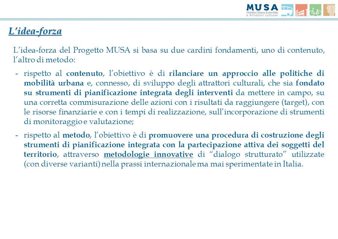 Lidea-forza Lidea-forza del Progetto MUSA si basa su due cardini fondamenti, uno di contenuto, laltro di metodo: -rispetto al contenuto, lobiettivo è
