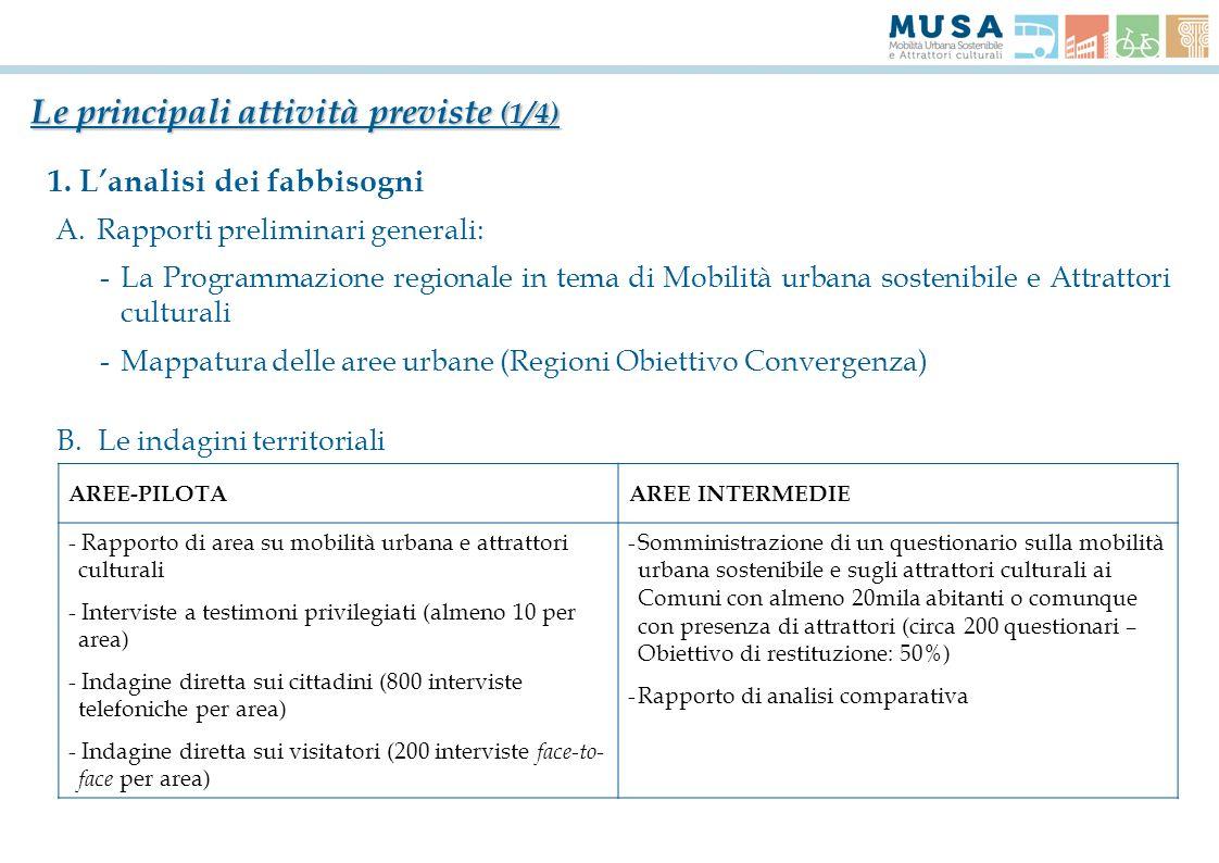 Le principali attività previste (1/4) 1. Lanalisi dei fabbisogni A.Rapporti preliminari generali: -La Programmazione regionale in tema di Mobilità urb