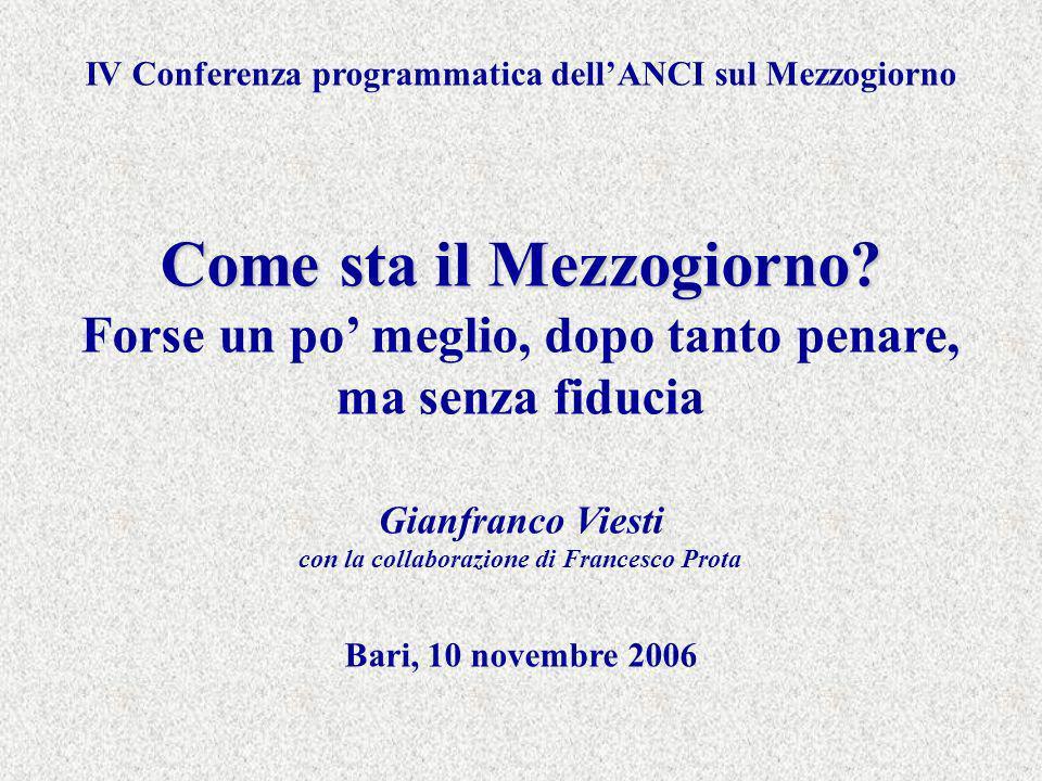 IV Conferenza programmatica dellANCI sul Mezzogiorno Come sta il Mezzogiorno.