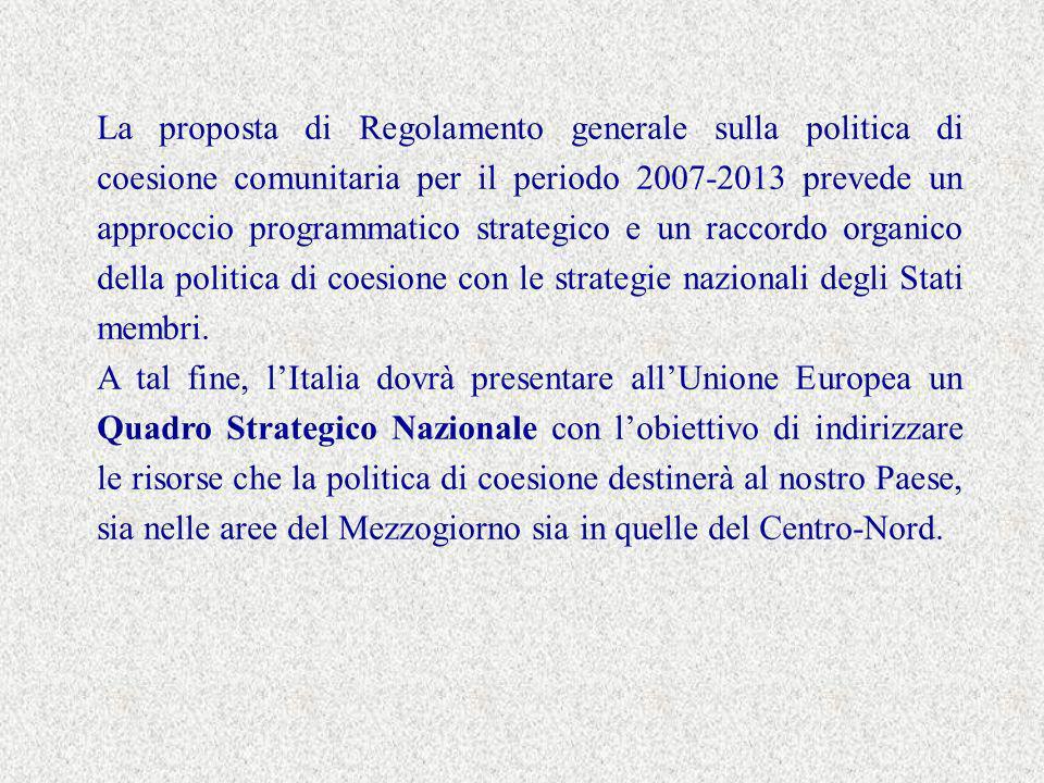 La proposta di Regolamento generale sulla politica di coesione comunitaria per il periodo 2007-2013 prevede un approccio programmatico strategico e un raccordo organico della politica di coesione con le strategie nazionali degli Stati membri.