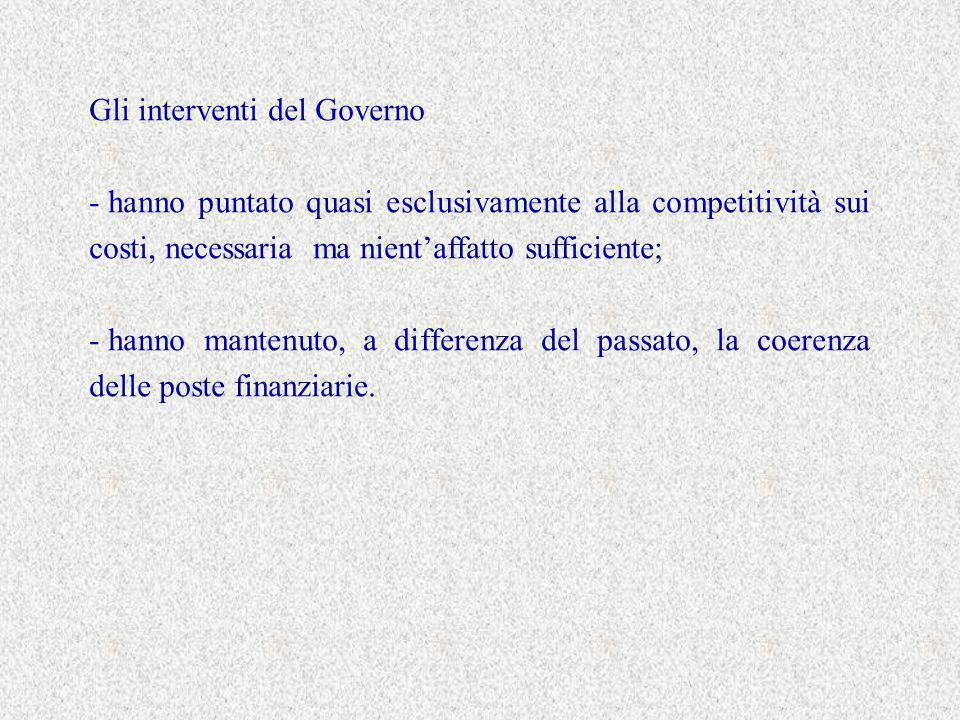Gli interventi del Governo - hanno puntato quasi esclusivamente alla competitività sui costi, necessaria ma nientaffatto sufficiente; - hanno mantenuto, a differenza del passato, la coerenza delle poste finanziarie.