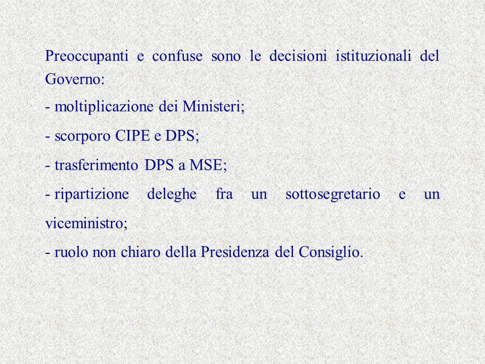 Preoccupanti e confuse sono le decisioni istituzionali del Governo: - moltiplicazione dei Ministeri; - scorporo CIPE e DPS; - trasferimento DPS a MSE; - ripartizione deleghe fra un sottosegretario e un viceministro; - ruolo non chiaro della Presidenza del Consiglio.