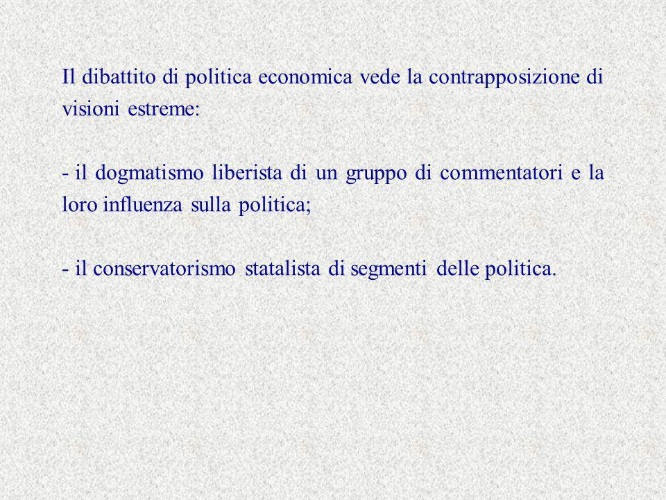 Il dibattito di politica economica vede la contrapposizione di visioni estreme: - il dogmatismo liberista di un gruppo di commentatori e la loro influenza sulla politica; - il conservatorismo statalista di segmenti delle politica.