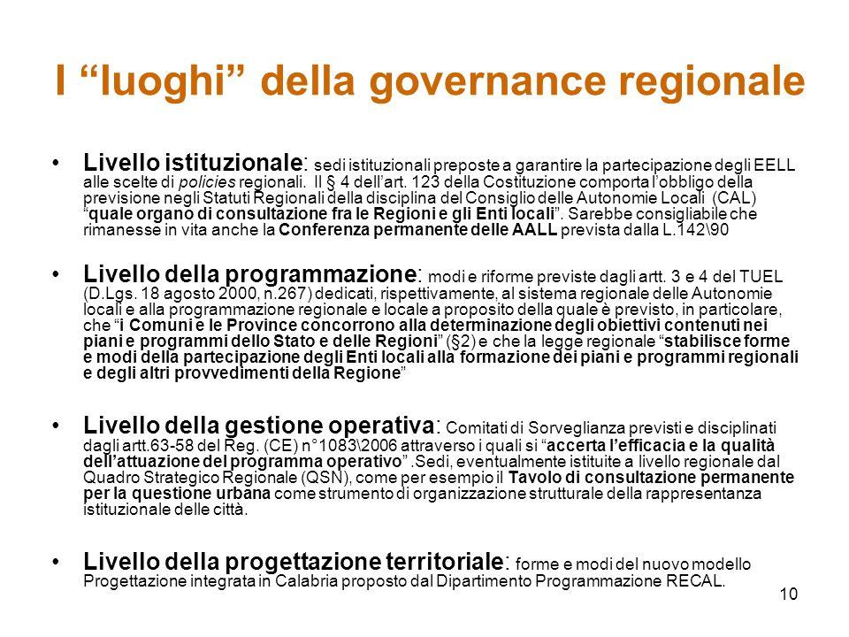 10 I luoghi della governance regionale Livello istituzionale: sedi istituzionali preposte a garantire la partecipazione degli EELL alle scelte di policies regionali.