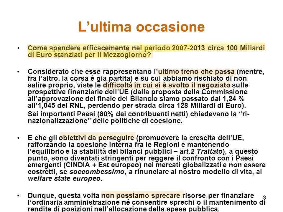 3 Lultima occasione Come spendere efficacemente nel periodo 2007-2013 circa 100 Miliardi di Euro stanziati per il Mezzogiorno.