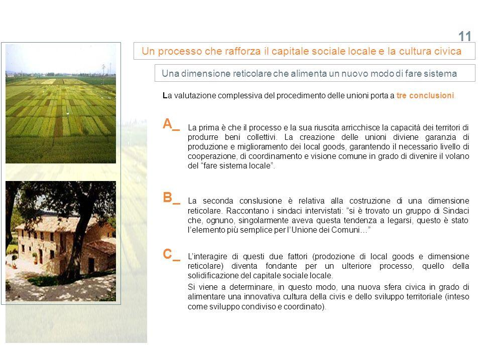 11 La valutazione complessiva del procedimento delle unioni porta a tre conclusioni. Un processo che rafforza il capitale sociale locale e la cultura