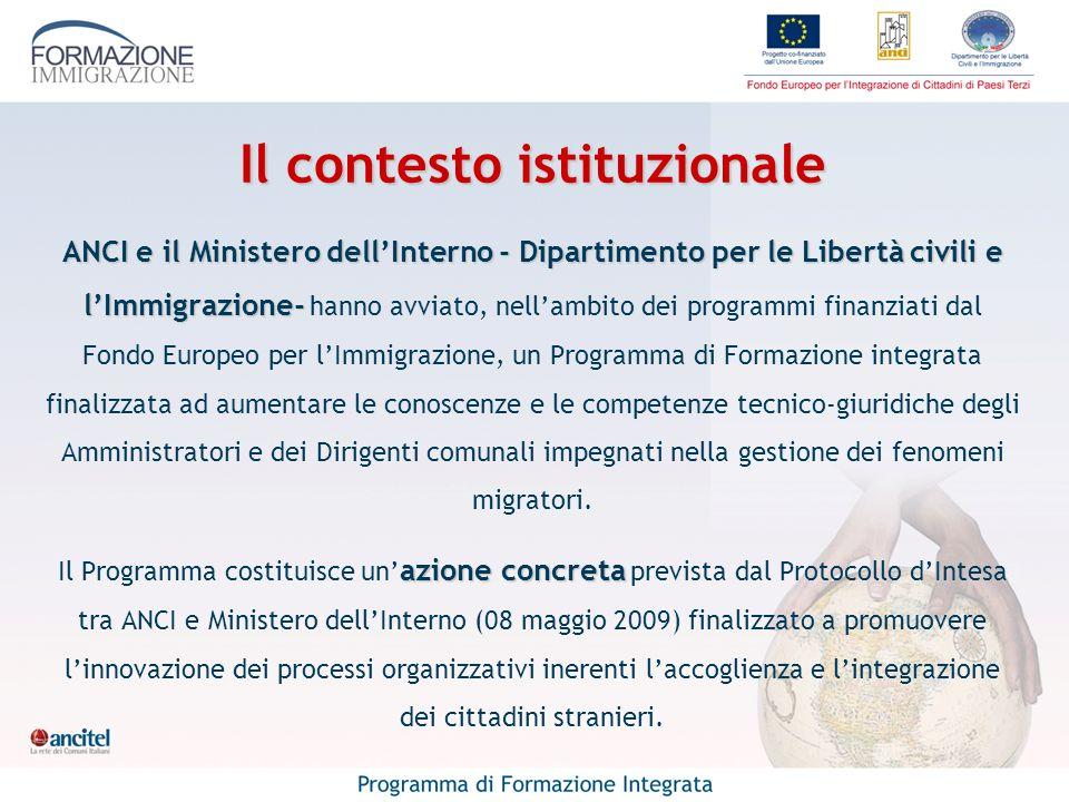 Il contesto istituzionale ANCI e il Ministero dellInterno - Dipartimento per le Libertà civili e lImmigrazione- ANCI e il Ministero dellInterno - Dipa