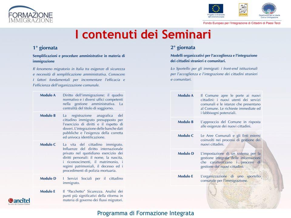 I contenuti dei Seminari