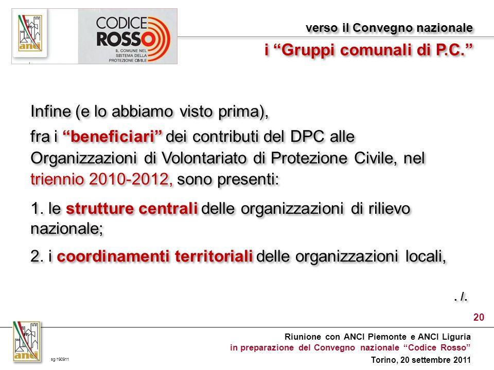 Riunione con ANCI Piemonte e ANCI Liguria in preparazione del Convegno nazionale Codice Rosso Torino, 20 settembre 2011 Infine (e lo abbiamo visto prima), fra i beneficiari dei contributi del DPC alle Organizzazioni di Volontariato di Protezione Civile, nel triennio 2010-2012, sono presenti: 1.