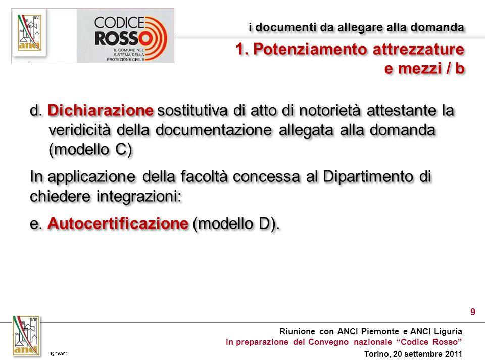 Riunione con ANCI Piemonte e ANCI Liguria in preparazione del Convegno nazionale Codice Rosso Torino, 20 settembre 2011 d.