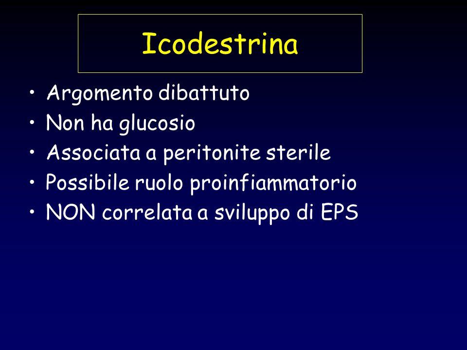 Icodestrina Argomento dibattuto Non ha glucosio Associata a peritonite sterile Possibile ruolo proinfiammatorio NON correlata a sviluppo di EPS