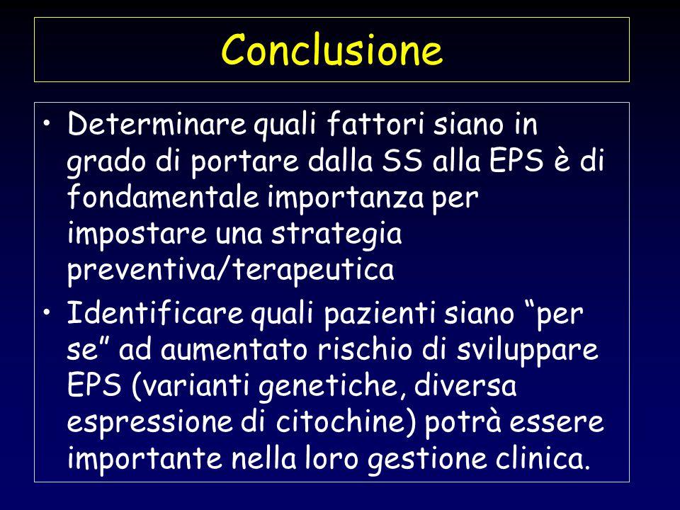Conclusione Determinare quali fattori siano in grado di portare dalla SS alla EPS è di fondamentale importanza per impostare una strategia preventiva/