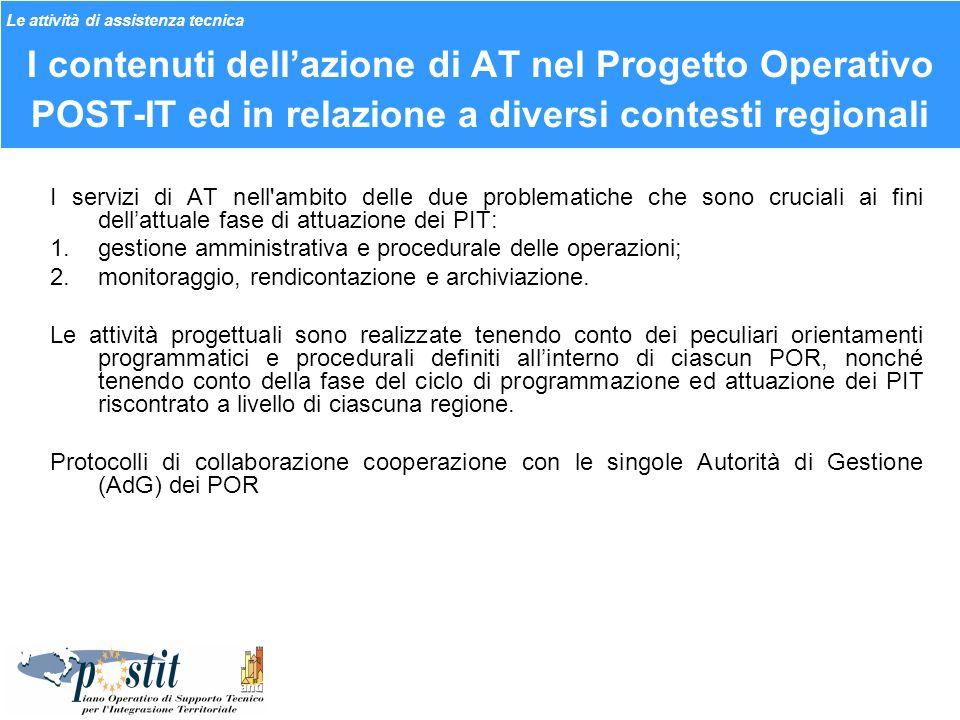 I contenuti dellazione di AT nel Progetto Operativo POST-IT ed in relazione a diversi contesti regionali I servizi di AT nell'ambito delle due problem