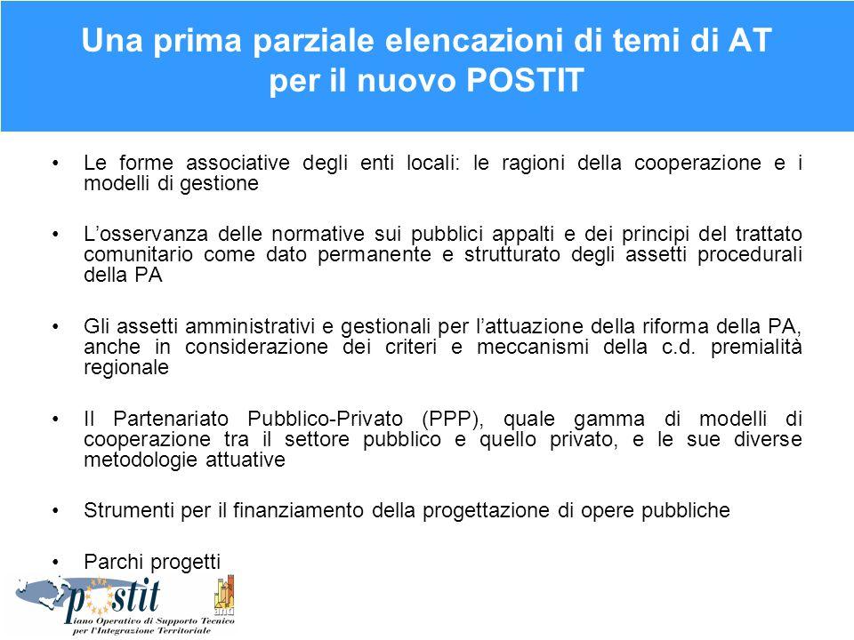 Una prima parziale elencazioni di temi di AT per il nuovo POSTIT Le forme associative degli enti locali: le ragioni della cooperazione e i modelli di