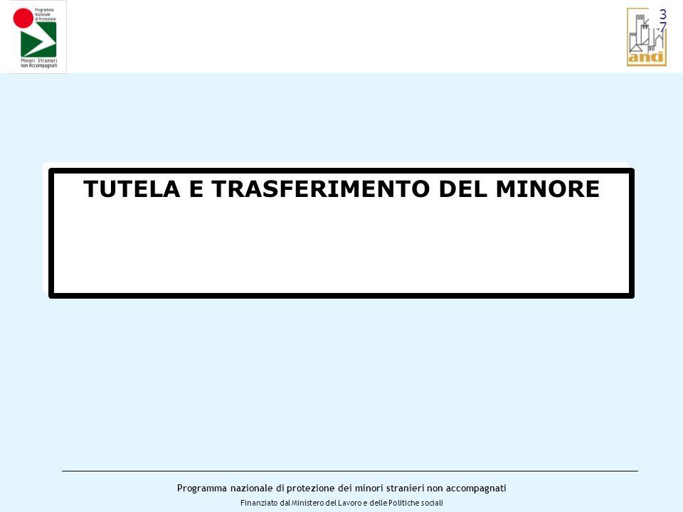 Programma nazionale di protezione dei minori stranieri non accompagnati Finanziato dal Ministero del Lavoro e delle Politiche sociali TUTELA E TRASFERIMENTO DEL MINORE 3737