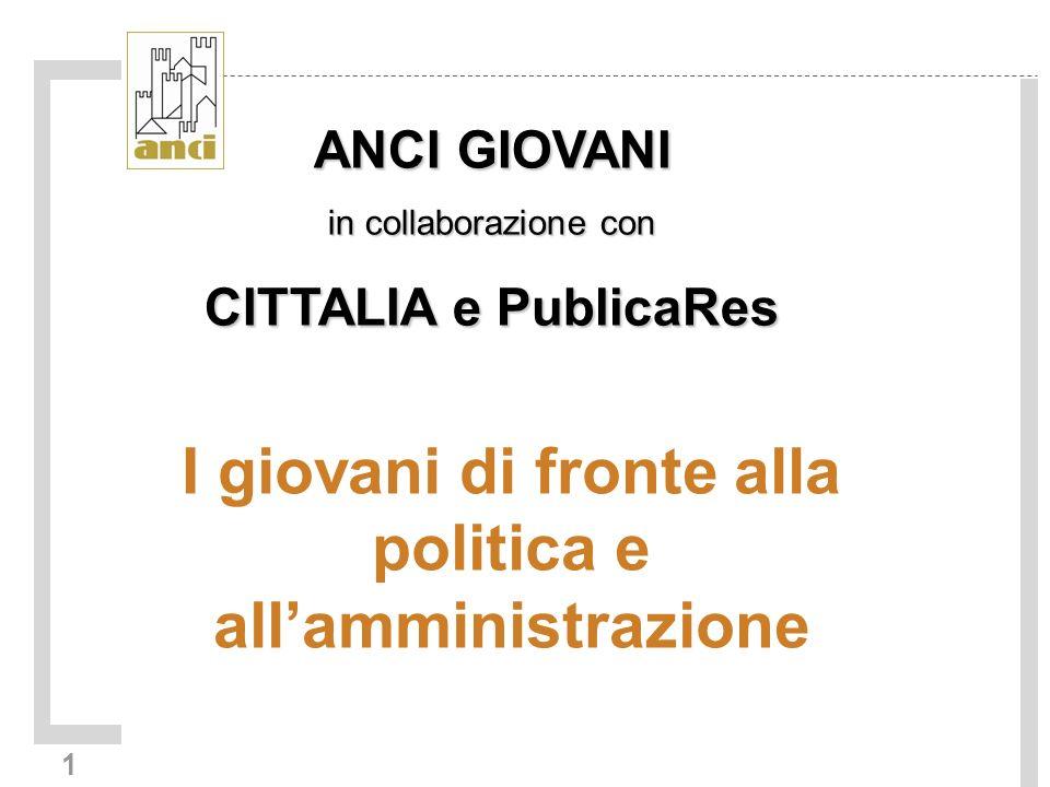 1 I giovani di fronte alla politica e allamministrazione ANCI GIOVANI in collaborazione con CITTALIA e PublicaRes