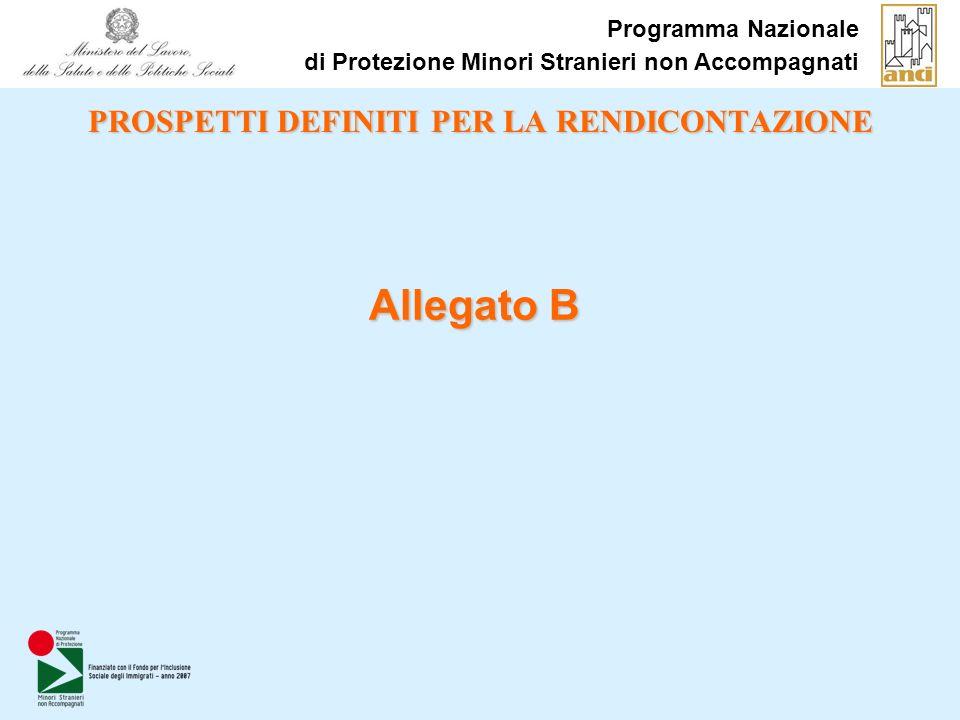 PROSPETTI DEFINITI PER LA RENDICONTAZIONE Allegato B Programma Nazionale di Protezione Minori Stranieri non Accompagnati