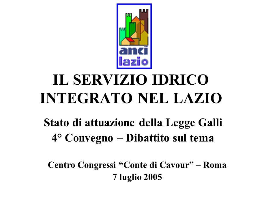 IL SERVIZIO IDRICO INTEGRATO NEL LAZIO Stato di attuazione della Legge Galli 4° Convegno – Dibattito sul tema Centro Congressi Conte di Cavour – Roma