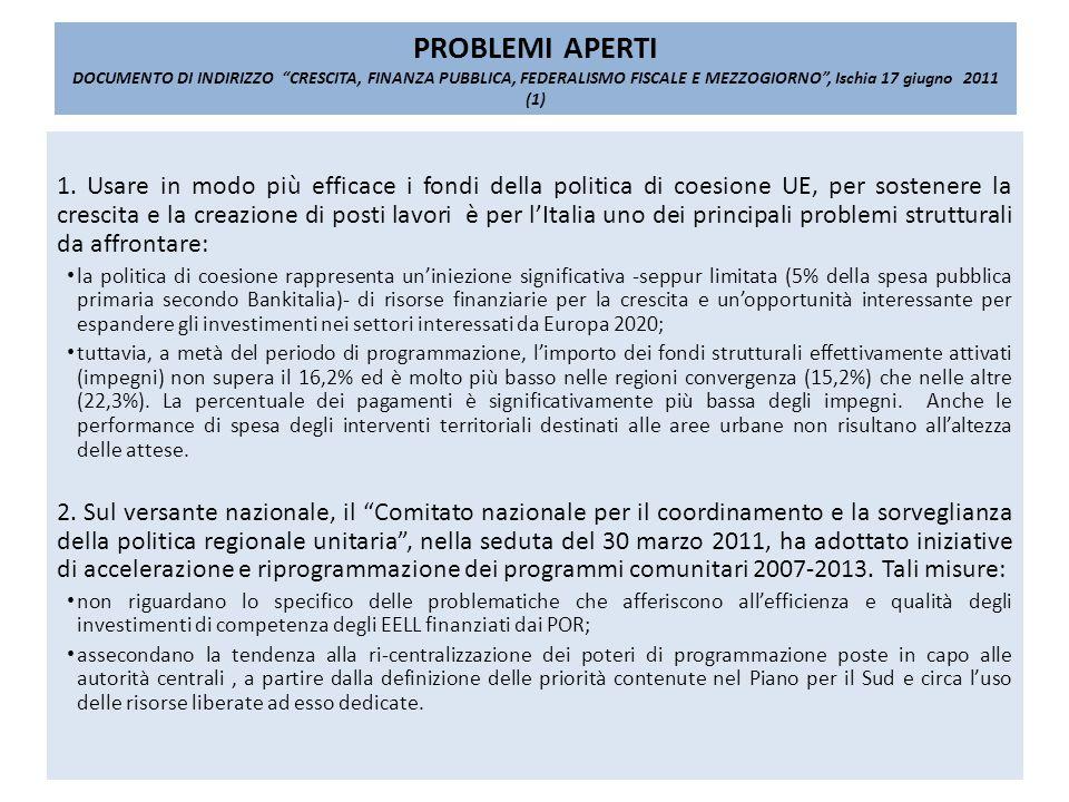PROBLEMI APERTI DOCUMENTO DI INDIRIZZO CRESCITA, FINANZA PUBBLICA, FEDERALISMO FISCALE E MEZZOGIORNO, Ischia 17 giugno 2011 (1) 1.