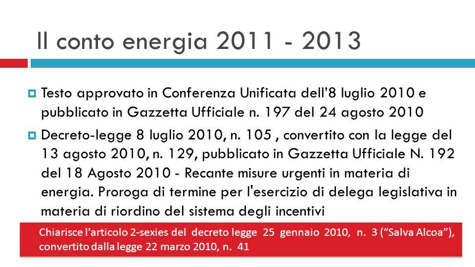 Il conto energia 2011 - 2013 Testo approvato in Conferenza Unificata dell8 luglio 2010 e pubblicato in Gazzetta Ufficiale n.
