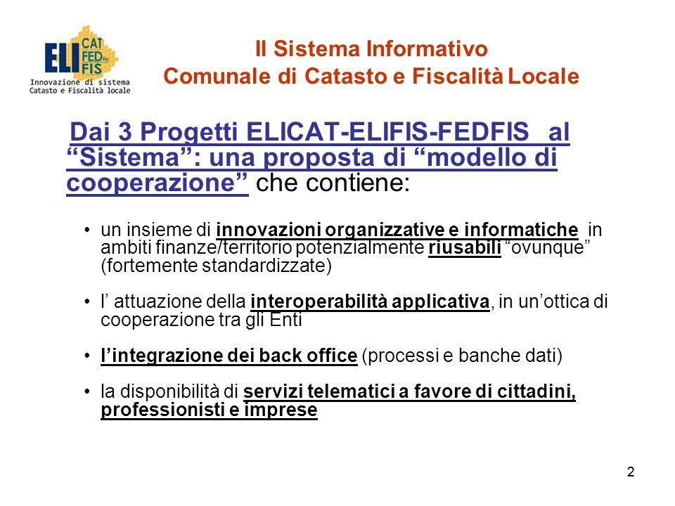 22 Il Sistema Informativo Comunale di Catasto e Fiscalità Locale Dai 3 Progetti ELICAT-ELIFIS-FEDFIS al Sistema: una proposta di modello di cooperazio