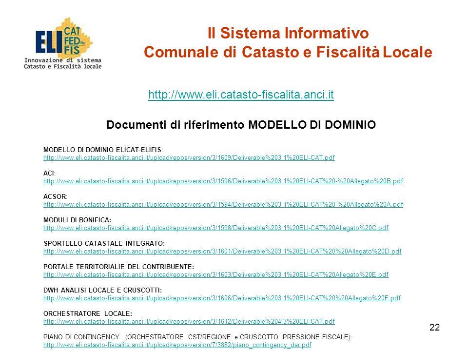 22 Il Sistema Informativo Comunale di Catasto e Fiscalità Locale http://www.eli.catasto-fiscalita.anci.it Documenti di riferimento MODELLO DI DOMINIO