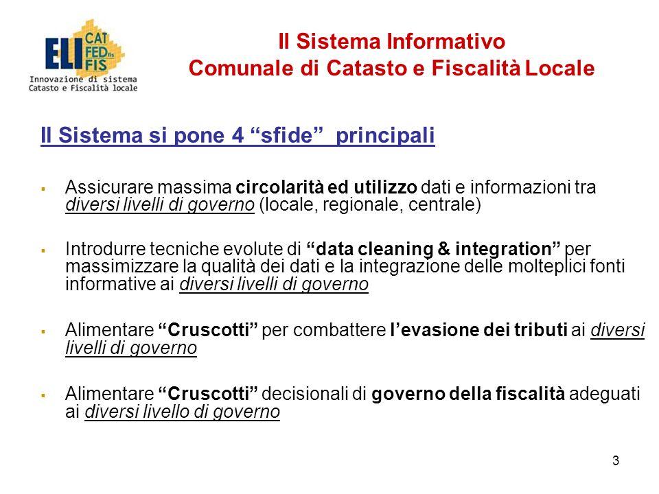 3 Il Sistema si pone 4 sfide principali Assicurare massima circolarità ed utilizzo dati e informazioni tra diversi livelli di governo (locale, regiona