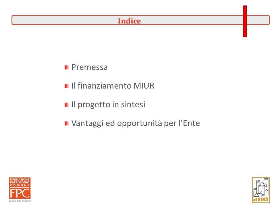 Premessa Il finanziamento MIUR Il progetto in sintesi Vantaggi ed opportunità per lEnte 2