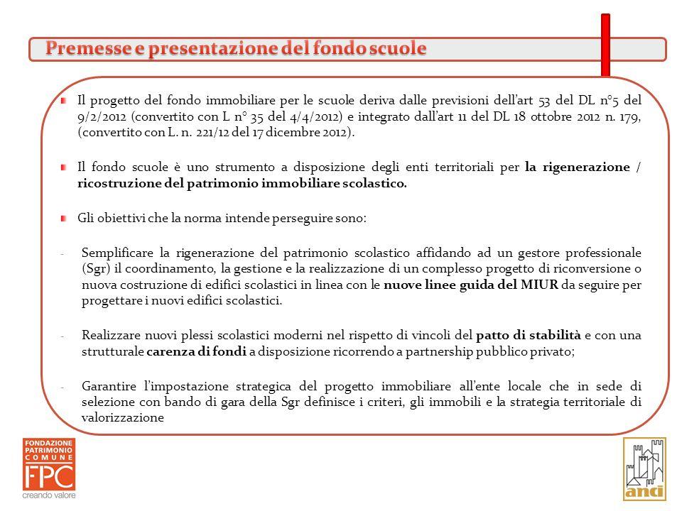 Il progetto del fondo immobiliare per le scuole deriva dalle previsioni dellart 53 del DL n°5 del 9/2/2012 (convertito con L n° 35 del 4/4/2012) e int