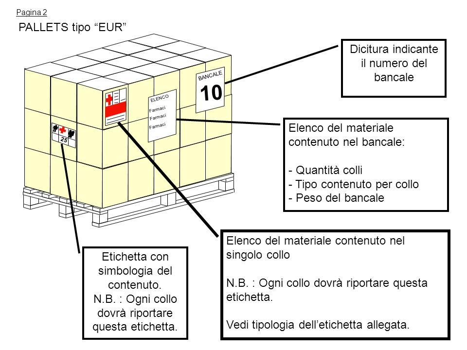 PALLETS tipo EUR ELENCO Farmaci BANCALE 10 Dicitura indicante il numero del bancale Elenco del materiale contenuto nel singolo collo N.B. : Ogni collo