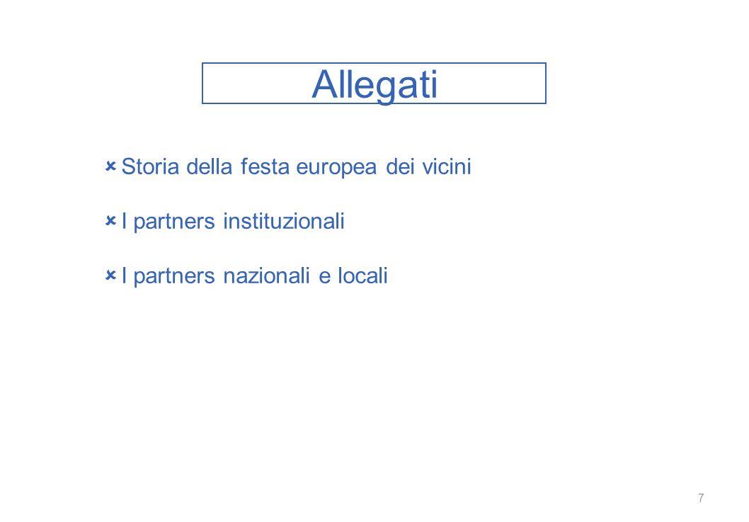Allegati 7 Storia della festa europea dei vicini I partners instituzionali I partners nazionali e locali