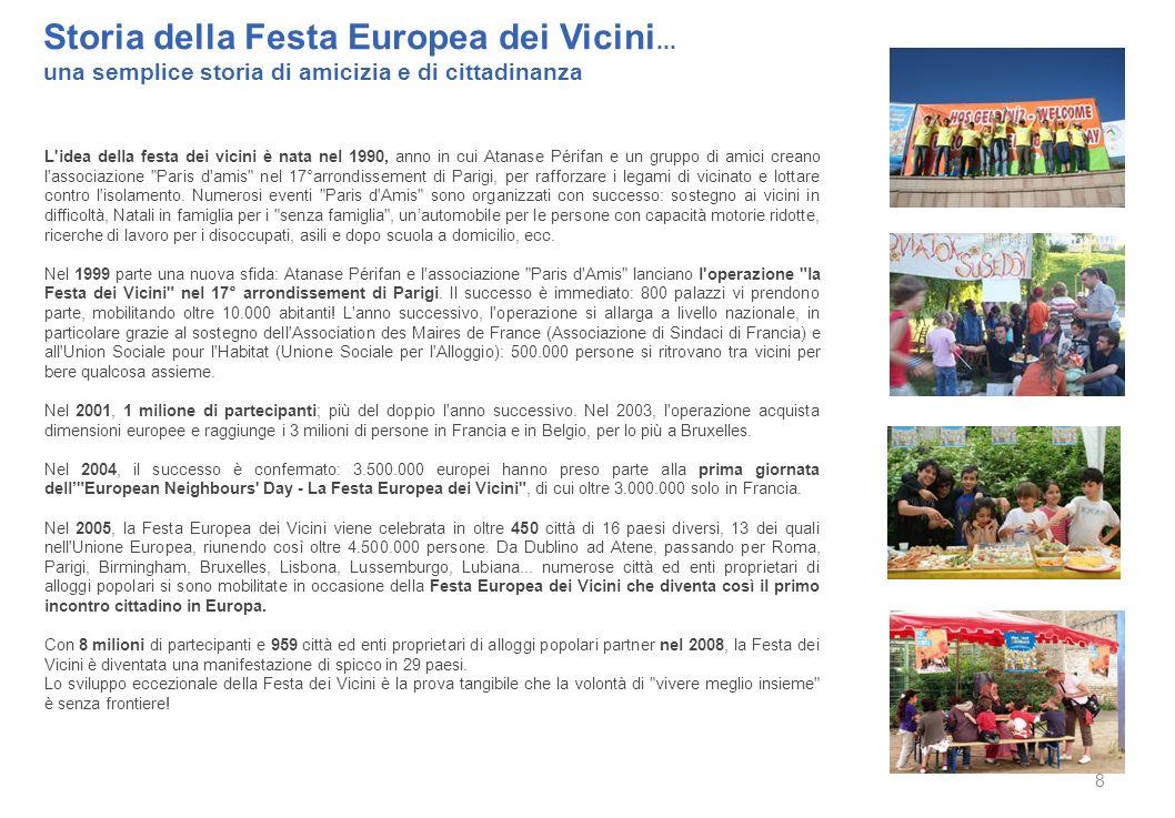 Storia della Festa Europea dei Vicini... una semplice storia di amicizia e di cittadinanza 8 L'idea della festa dei vicini è nata nel 1990, anno in cu