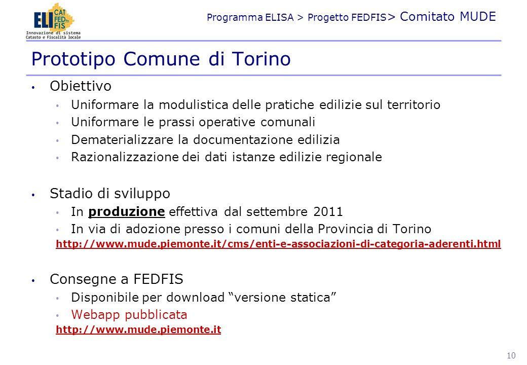 Programma ELISA > Progetto FEDFIS > Comitato MUDE Obiettivo Uniformare la modulistica delle pratiche edilizie sul territorio Uniformare le prassi oper