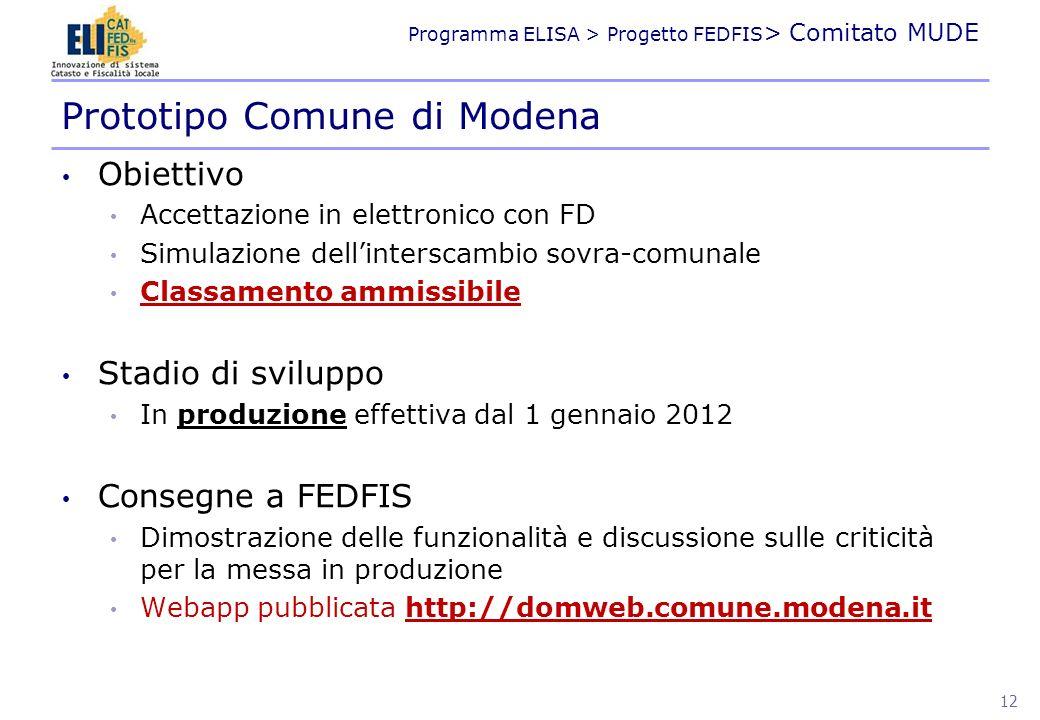 Programma ELISA > Progetto FEDFIS > Comitato MUDE Obiettivo Accettazione in elettronico con FD Simulazione dellinterscambio sovra-comunale Classamento
