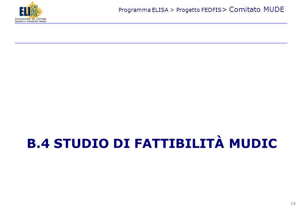 Programma ELISA > Progetto FEDFIS > Comitato MUDE B.4 STUDIO DI FATTIBILITÀ MUDIC 14