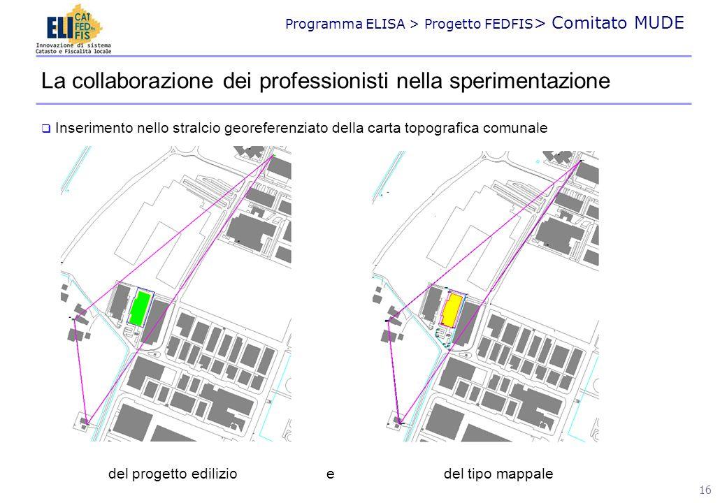 Programma ELISA > Progetto FEDFIS > Comitato MUDE 16 La collaborazione dei professionisti nella sperimentazione Inserimento nello stralcio georeferenz
