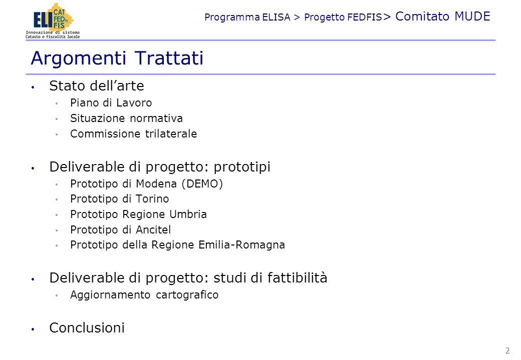Programma ELISA > Progetto FEDFIS > Comitato MUDE Stato dellarte Piano di Lavoro Situazione normativa Commissione trilaterale Deliverable di progetto:
