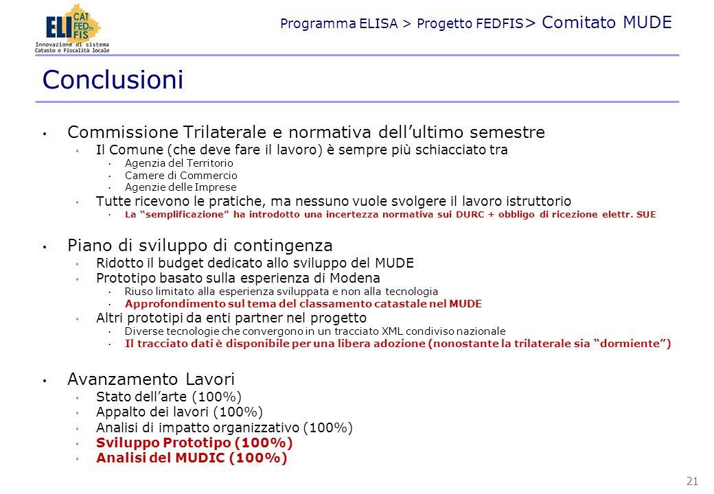 Programma ELISA > Progetto FEDFIS > Comitato MUDE Commissione Trilaterale e normativa dellultimo semestre Il Comune (che deve fare il lavoro) è sempre