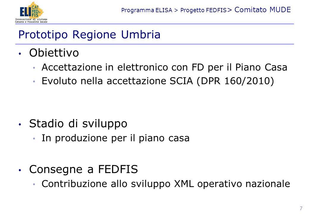Programma ELISA > Progetto FEDFIS > Comitato MUDE Obiettivo Accettazione in elettronico con FD per il Piano Casa Evoluto nella accettazione SCIA (DPR