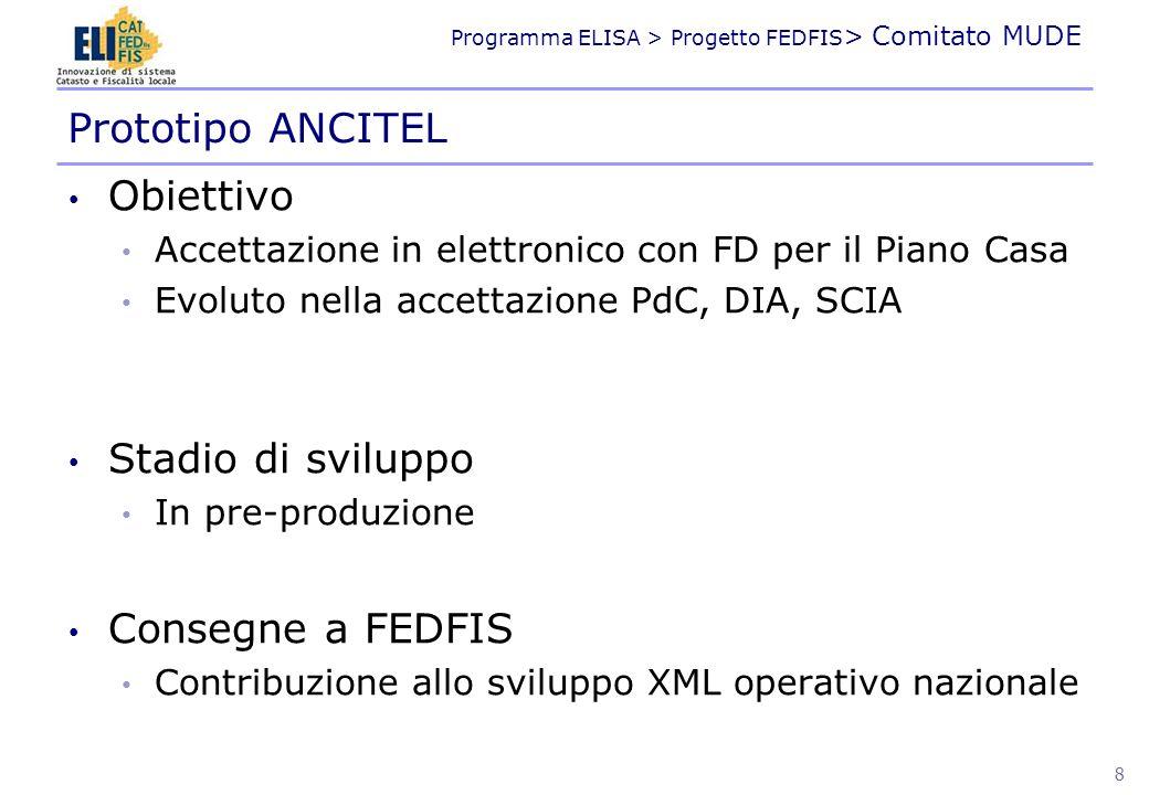 Programma ELISA > Progetto FEDFIS > Comitato MUDE Obiettivo Accettazione in elettronico con FD per il Piano Casa Evoluto nella accettazione PdC, DIA,